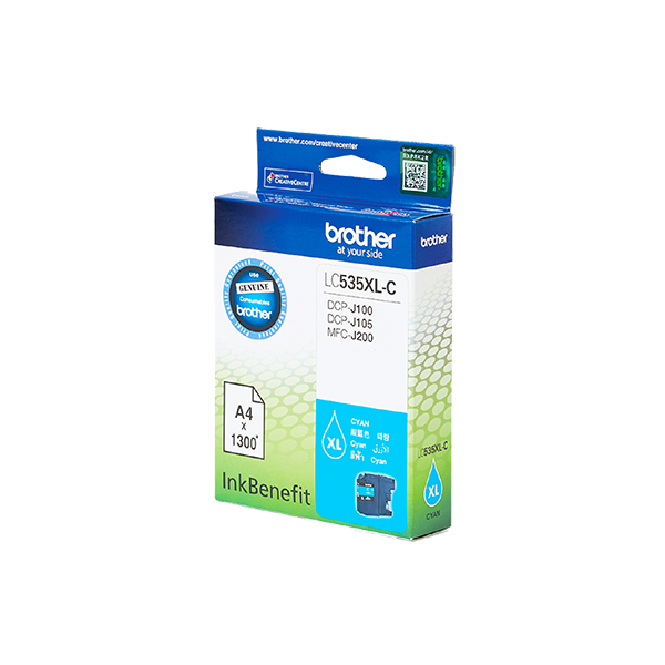 BROTHER LC535XLC HIGH YIELD CYAN INK CARTRIDGE FOR DCPJ105